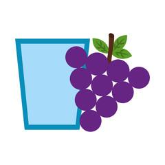 fresh grapes fruit with glass vector illustration design