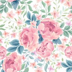 Floral seamless pattern.  Flowers and leaves garden background