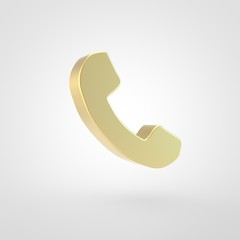 Golden phone icon isolated on white background.