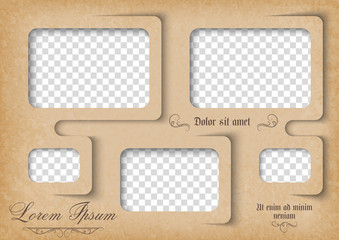 Template for photo collage in vintage style. Family photo album. Frames for clipping masks is in the vector file
