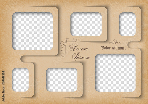 Template For Photo Collage In Vintage Style Family Photo Album