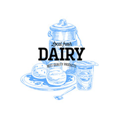 Beautiful vector hand drawn dairy products logo.