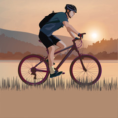 Cyclist on a sunset
