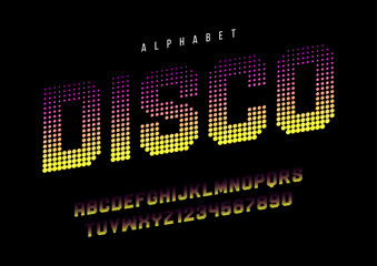 Disco dotted halftoned display font design, alphabet, typeface,
