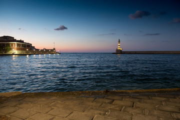 Old harbor and Chania town, Crete, Greece