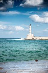Old harbor, lighthouse, Chania, Crete, Greece
