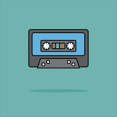 Illustration of audio tape icon in flat style