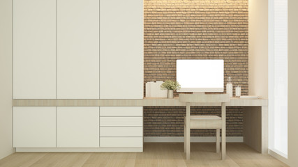 Workplace on brick wall decorate and wardrobe in condominium - Study room simple design artwork for apartment or home - 3D Rendering