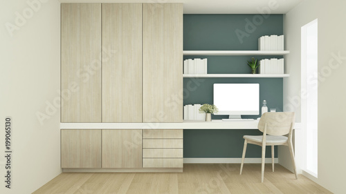 Workplace on green wall design and wardrobe in condominium Study