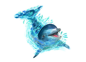 The dolphin splashes in the water. Watercolor art. A fun dolphin is played in the water. Splashes fly in all directions. Fashionable illustration.