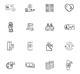 Doodle Cripto-currecy icons set