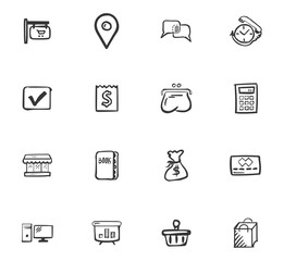 Doodle Business icons set