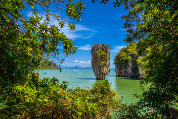 Koh Tapu island or popular call James bond island landscape view in Phang-nga. Panorama of Thailand. The island of Phuket. Panorama of Bond Island. Island in Phang Nga Bay