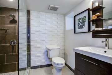 Brown and white bathroom interior