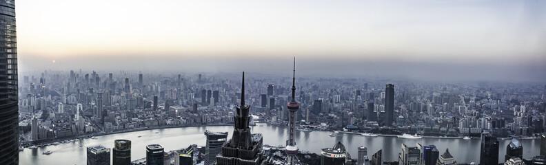shanghai skyline with reflection,China