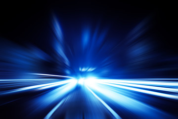 driving at high speed in tunnel - motion blur Wall mural