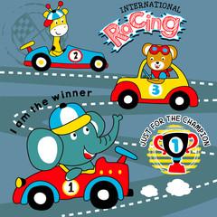 Racing game animal cartoon vector