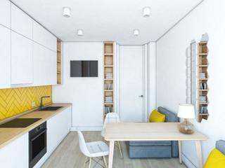 White yellow kitchen.