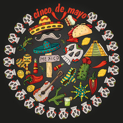 illustration of circular ornament of Mexican symbols on black isolated background