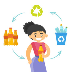 Young caucasian white woman with bottle in hands showing cycle of plastic bottle recycling. Plastic recycling concept. Vector cartoon illustration isolated on white background. Square layout.