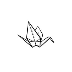 Origami crane hand drawn outline doodle icon. Crane origami vector sketch illustration for print, web, mobile and infographics isolated on white background.