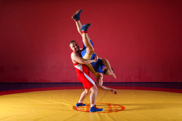 Two young man  wrestlers