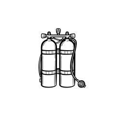 Oxygen tank hand drawn outline doodle icon. Tank with helium or oxygen vector sketch illustration for print, web, mobile and infographics isolated on white background.