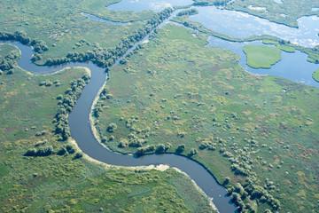 Danube Delta Aerial View over Unique Nature