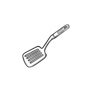 Kitchen spatula hand drawn outline doodle icon. Spatula - kitchen utensils vector sketch illustration for print, web, mobile and infographics isolated on white background.