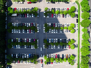 Aerial image of hundreds of cars in a parking lot