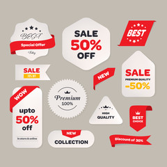 Sale price tag with text banner and label vintage design. Offer promotion sticker.
