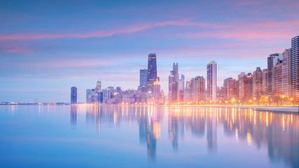 Fotomurales - Downtown chicago skyline at sunset Illinois