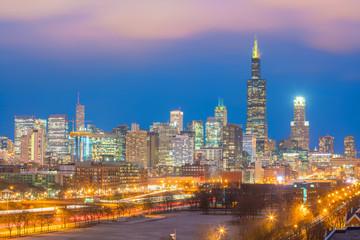 Downtown chicago skyline at sunset Illinois