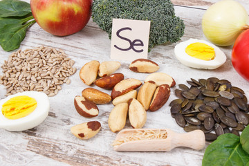 Products and ingredients containing selenium, minerals and dietary fiber, healthy nutrition concept