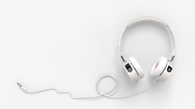 Headphone on paper white background