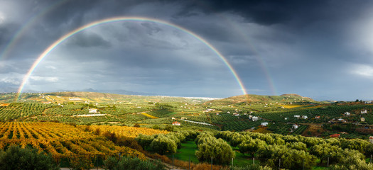 Double Rainbow and cultivated land, Greece