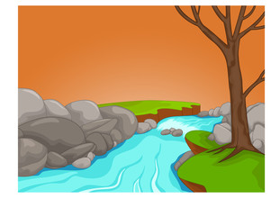 beauty river scenery cartoon on the afternoon