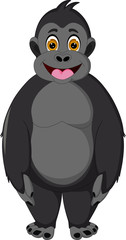 funny gorilla cartoon standing with smile