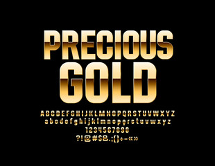 Vector glossy Precious Gold Font. Rich Alphabet Letters, Numbers and Symbols.