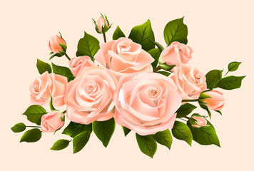 Bouquet of beige roses, buds and leaves. Isolated flower arrangement. Delicate vector rose