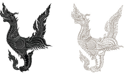 Thai traditional tattoo, Thai traditional painting vector