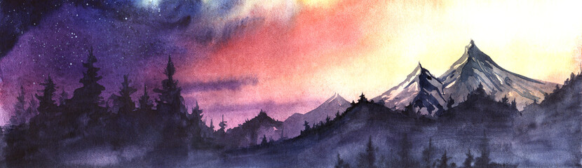 Panorama of mountain ranges and spruce forest against a background of the setting sun sky gradient from purple to red to yellow