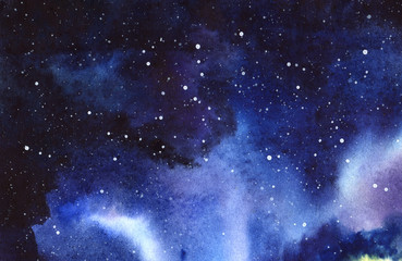 Night starry sky. Hand drawn on a wet paper real watercolor Illustration.