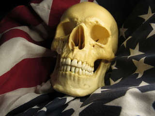 crying skull and American flag