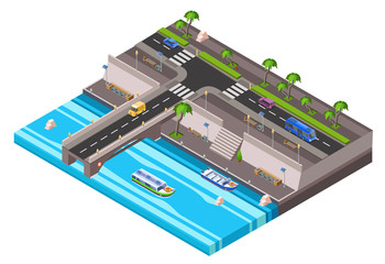 Vector isometric riverside embankment with car roadway with vehicle bus traffic, sidewalk transport bridge with boat river channel. City 3d transportation infrastructure, urban landscape illustration