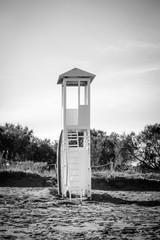 Lifeguard hut on beach, Greece