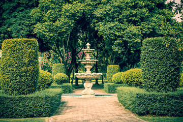 Small fountain and tropical garden green  plant decorate in Thailand