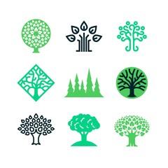 Green nature tree logo. Eco education vector concept