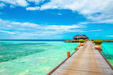 Beautiful tropical Maldives resort hotel