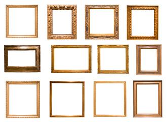 group of retro golden rectangular frame for photography